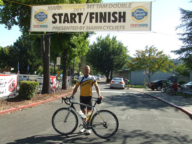 Jim Atkinson at the finish of the Mt. Tam Double