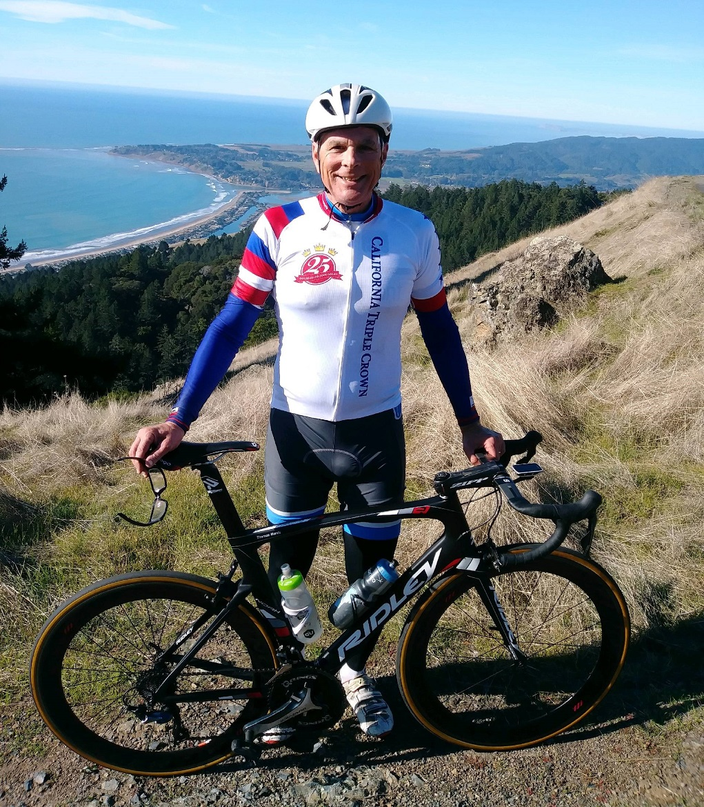 Tom Morris with his 25 Double Century Jersey on Mt. Tam