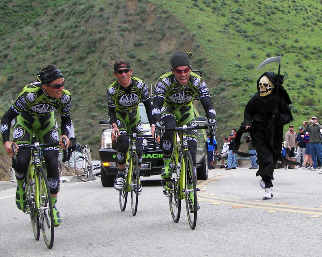 Rock Racing boys chased by Grim Reaper