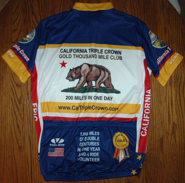 Back of new Voler Gold 1000 Mile Club Jersey